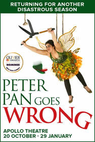 Peter Pan Goes Wrong on Stage at the Apollo Theatre in London