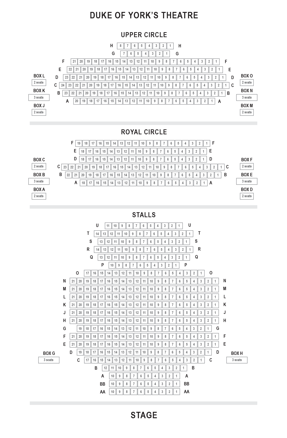 Duke of York's Theatre seating plan