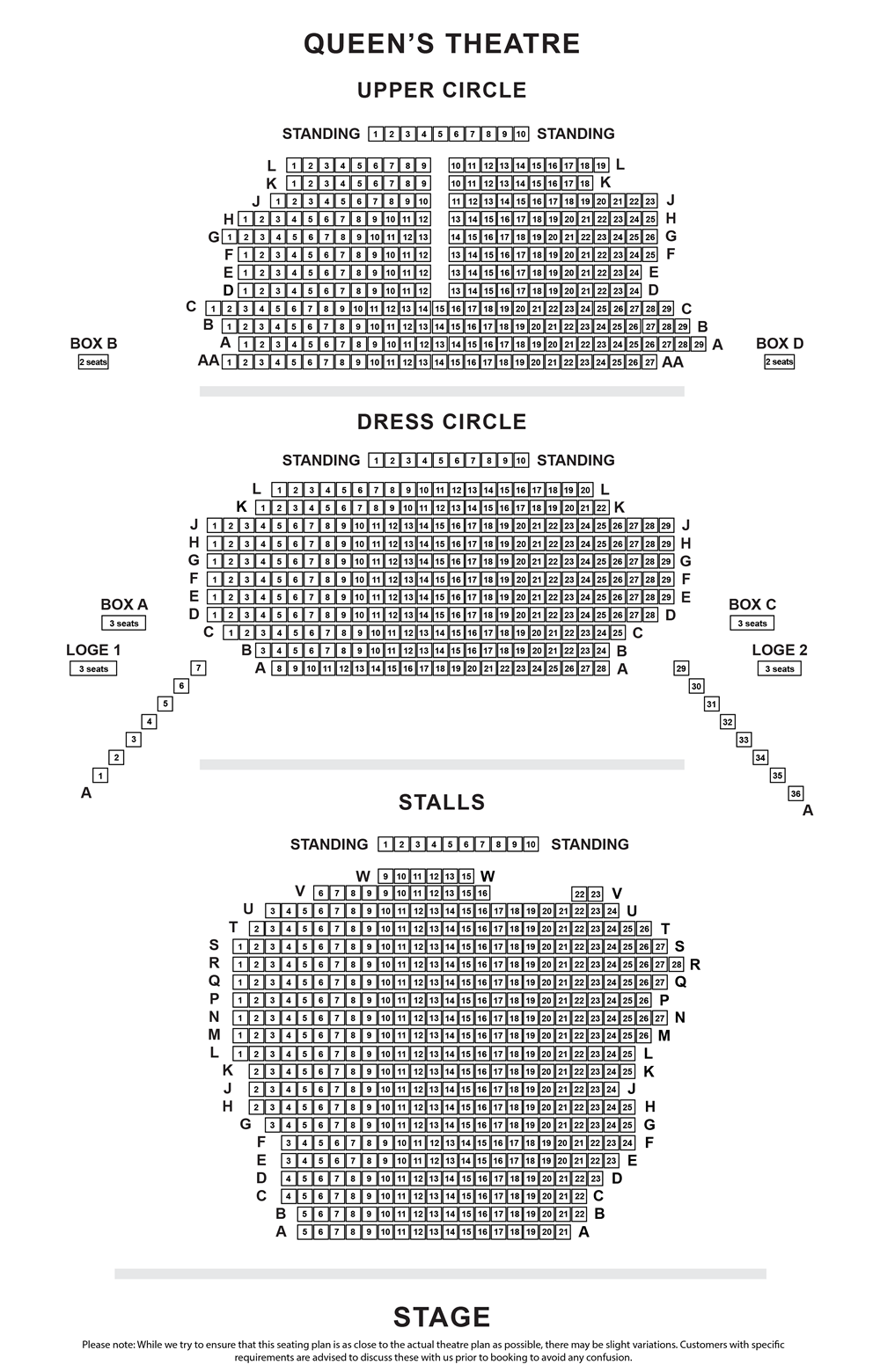 Sondheim Theatre (Queen's Theatre) seating plan