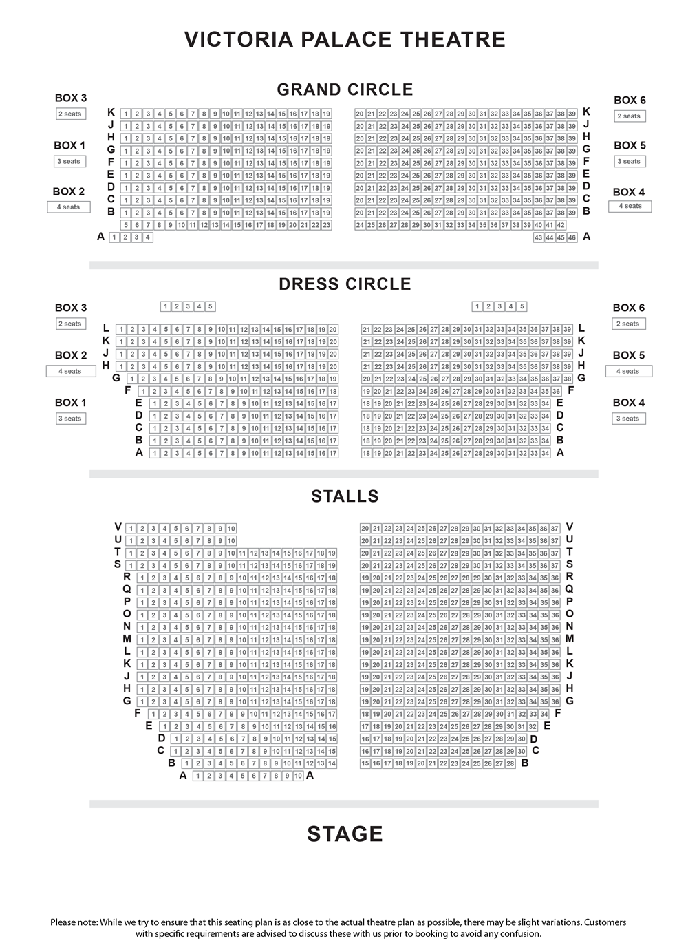 Victoria Palace Theatre seating plan